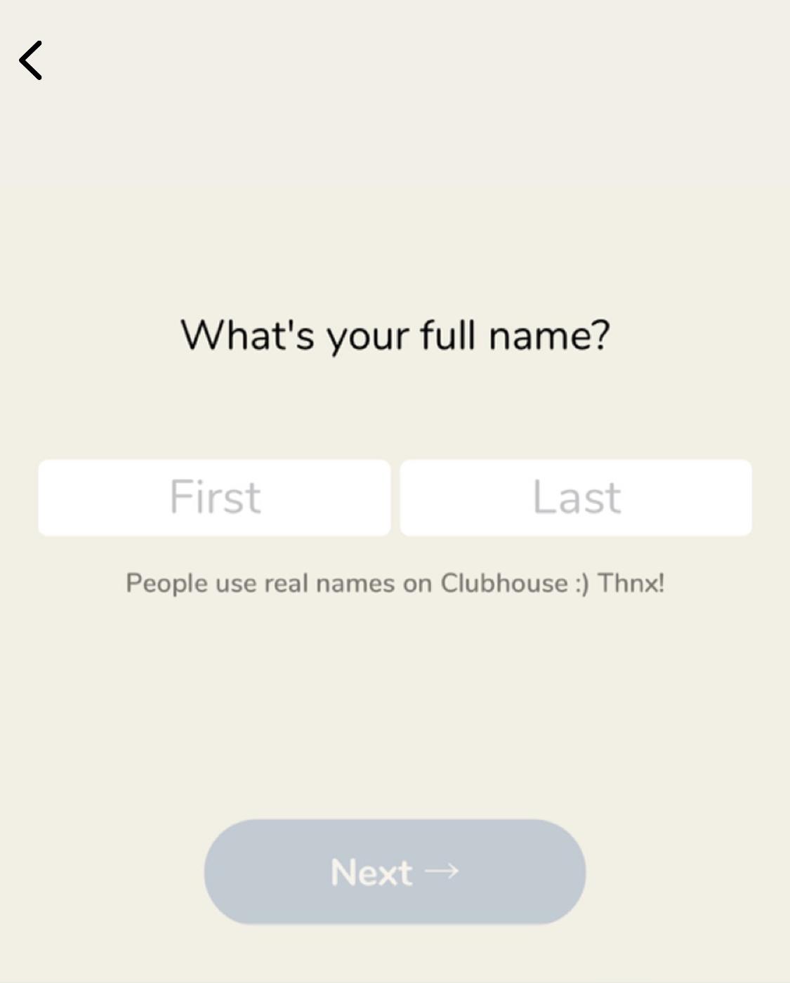 Clubhouseで表示される名前を登録する画面です